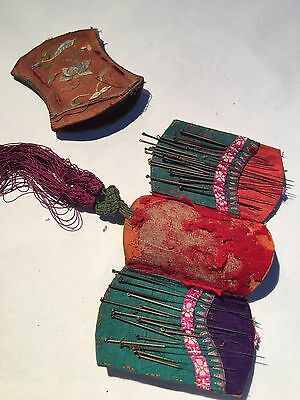 19th Cent Chinese Needles In Embroidery Case