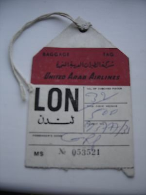 Vintage United Arab Airlines Baggage Check Tag Label