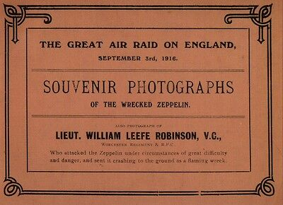 The Great Air raid on England Booklet 3rd Sept 1916 Zeppelin World War I