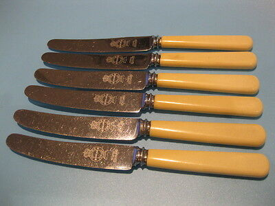 Lovely Set of 6 Antique Firth Stainless Steel Butter Knives / Side Knives