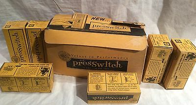 BOX OF SIX 1940's 50's HUBBELL 15 AMP 120-277 VOLT AC PRESS SWITCHES