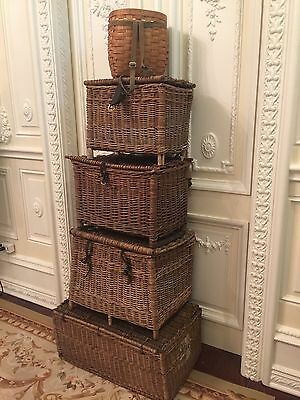Antique Original English, England Fishing Creel Woven Basket, 1920 #4
