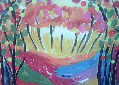 """Fridge Magnet, Quirky Colourful Forest  4.25"""" by 5.5"""""""