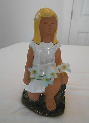 Vintage Jie Gantofta Sweden Kneeling Girl Figurine Flowers Swedish Art Pottery