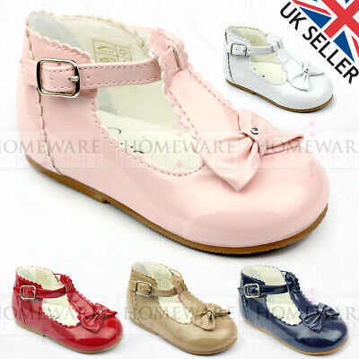 Baby Girl Shoes Spanish Style T-Bar Bow Patent Shoe Uk 2-6 White Red Camel Pink