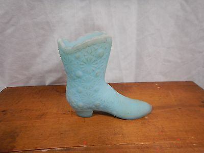Vintage Fenton Art Glass Boot Baby Blue Milk Glass 4""