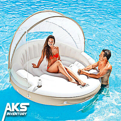 Inflatable Canopy Island Float Lounge Shade Raft Swimming Pool Floating Water