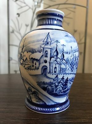 Vintage/Antique Russian Blue & White Porcelain Pottery Vase