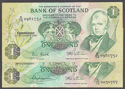 1979 & 1985 Bank of Scotland £1 One Pound Banknotes Risk Pattullo Clydesmuir (2)