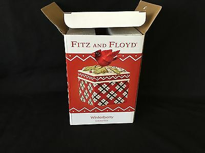 Fitz and Floyd Winterberry Lidded Box Cardinal Red Green Plaid Trinket Candy Nut
