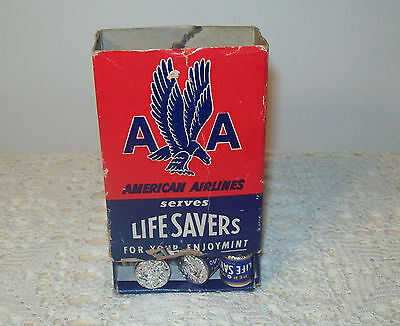 Vintage Box of Mini Rolls Pep O Mint Life Savers Candy Sealed American Airlines