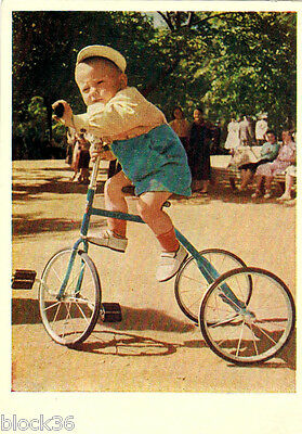 1955 Russian stamped photocard: BOLD TURN Little boy operates trycicle