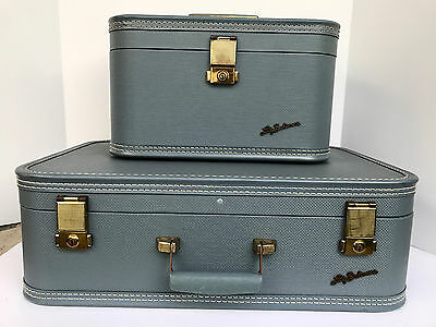 Vintage Lady Baltimore Luggage Makeup Cosmetic Train Hard Shell Case Blue
