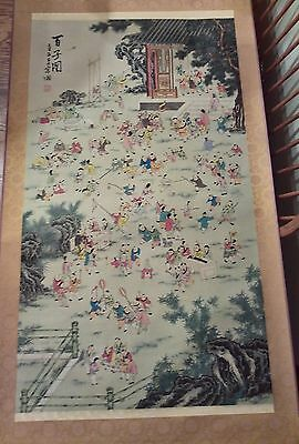 Large Vintage Chinese wall hanging scroll hand painted 100 boys silk, signed
