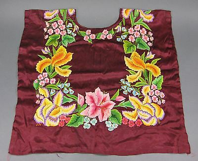 Fine Old Vintage Silk Embroidered Floral Mexican Tehuana Huipil Material Blouse