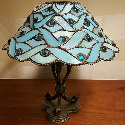 Retired Spring Water Blue Stained Glass Partylite Tealight Candle Holder Lamp