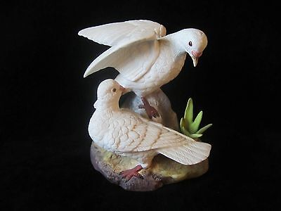 "Unsigned BIRD FIGURINE 2 WHITE TURTLE DOVES MATTE FINISH 9"" HIGH"