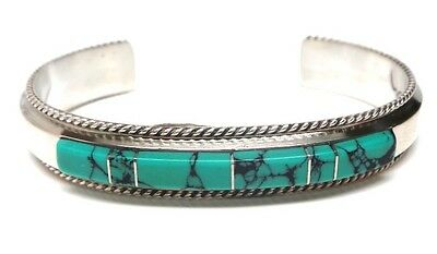 Navajo Turquoise Inlay Sterling Silver Cuff Bracelet -Fran Yazzie