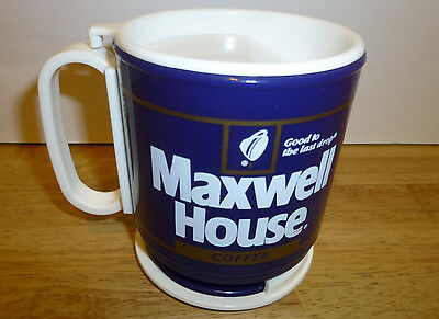 Vintage MAXWELL HOUSE Coffee Reusable Plastic Travel Mug Cup with Lids Base New