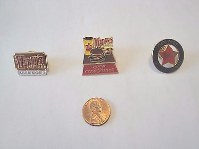 Wendy's Lapel Pin Lot of 3 Pins