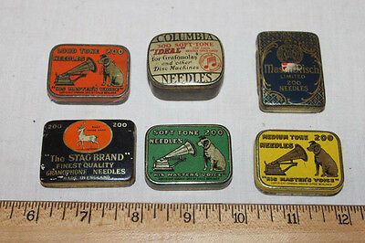 Six antique gramophone needle tins: His Master's Voice & others