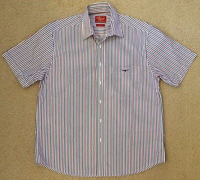 NEW RM Williams Cotton Shirt Mens Size M Red Blue White Stripes Short Sleeved