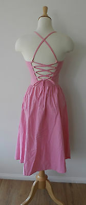 Vintage 60s Pink Cotton Lace Up Corset Back Strappy Fit & Flare Day Dress XS 6