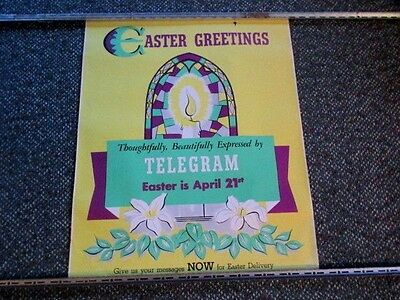 "1957 Western Union Telegraph Easter Greetings #6142-57 Advertising Poster 24""x20"