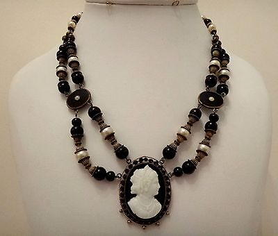 Antique Victorian mourning brass filigree onyx cameo beaded necklace festoon