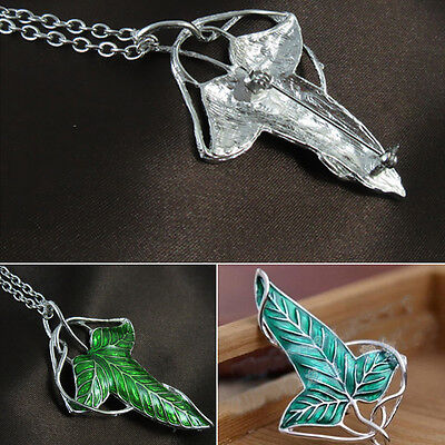 NEW Lord of the Rings Green Elves Leaf Brooch Pin Necklace Pendant Charm Amulet