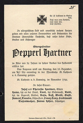 German Paper Document - Knights Cross Or Death Notice - Germany Ww2 Wwii