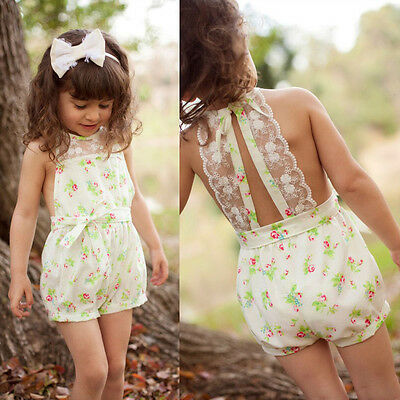 USA Girls Floral Playsuit One-piece Kids Baby Romper Shorts Lace Clothes 2-7Y Ba