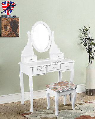 White Dressing Table Makeup Desk with Stool  Bedroom 5 Drawers and Oval Mirror