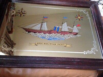 Vintage Royal Mail Steam Packet Ship Picture Mirror Wood Frame British Shipping