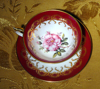Aynsley Tea Cup & Saucer Cabbage Rose Center In Burgundy & Gold Made In England