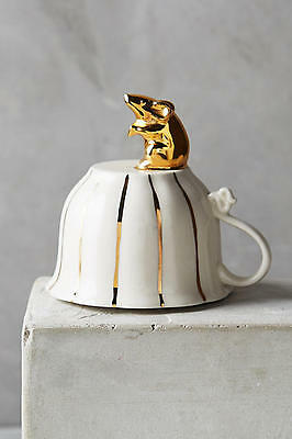New Anthropologie Philomena Cookie Stamp Gold Mouse Top Of Teacup Sugar & Spice