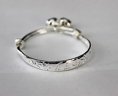 Cute Baby Girls Chinese Happiness Engraved Sterling Silver Plated Bell Bangle