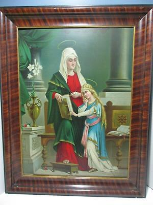 Lg. Antique Religious Framed Lithograph on Tin St. Anne With Blessed Virgin Mary