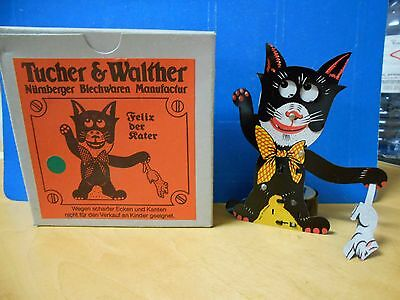 Vintage Tucher & Walther Felix The Cat Rat Catcher Tin Toy In Box - Germany
