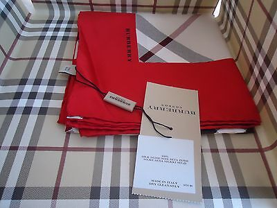 New Authentic Burberry Check Beige Red Silk Women's Square Scarf
