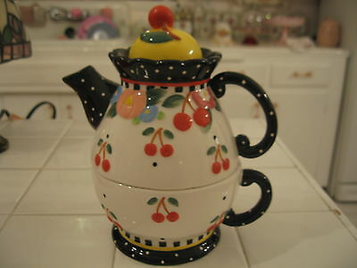Adorable Mary Engelbreit Cherries Tea For One Oh So Breit Teapot And Cup Set
