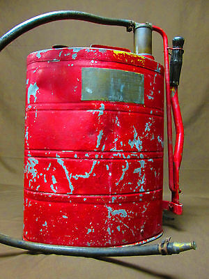 Vintage ARMY Red FIRE PUMP No 150-A by PARCO ~ Hand Pump w. WW1/2 US HOYT Straps
