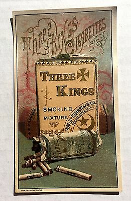 Vintage 1880s Advertising Trade Card Three Kings Cigarettes Very Colorful