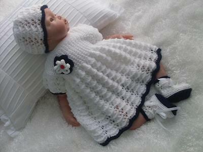 Beautiful Hand Knitted 3 Piece Dress Set for Baby Girls or Reborn Dolls