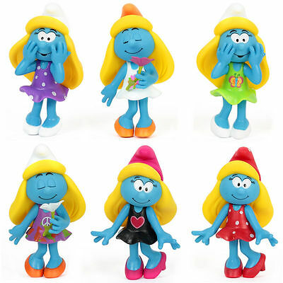 6Pcs Cute The Smurfs Action Figures Set Figurines Kid Toy Gift Home Car Decor