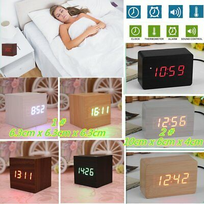 Modern Wooden Wood Digital LED Desk Alarm Clock Thermometer Timer Calendar SU