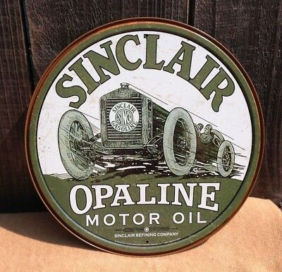 SINCLAIR MOTOR OIL COMPANY Round Sign Tin Vintage Garage Bar Decor Old Rustic