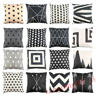 Black & Beige Geometric Cushion Cover Cotton Linen Throw Pillow Case Bed Sofa