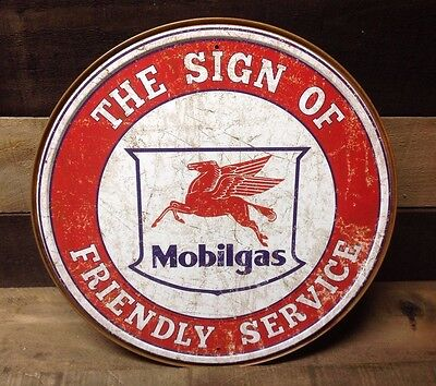 MOBILGAS FRIENDLY SERVICE Round Sign Tin Vintage Garage Bar Decor Old Rustic