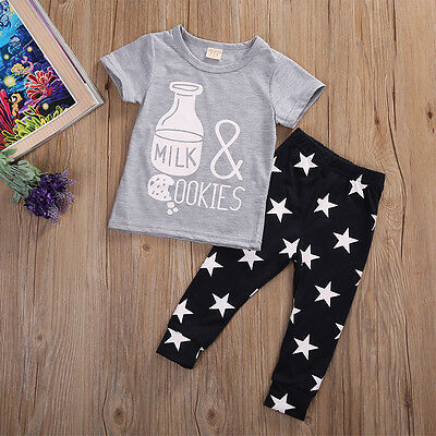 Infant Kids Baby Girls Boys Outfits T-Shirt Tops+Pants Toddler Clothes 2Pcs US